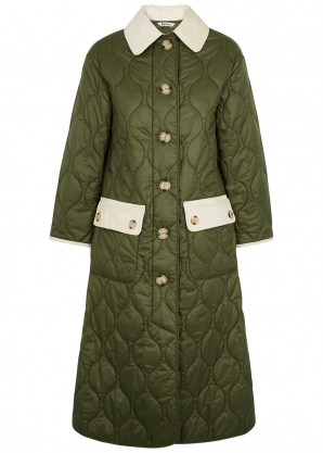Annie army green quilted shell coat