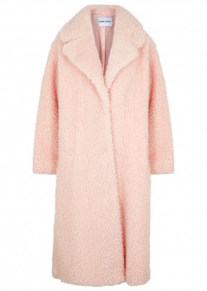 Stand Studio Clara light pink faux shearling coat