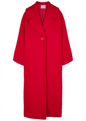 Red oversized bouclé-knit coat
