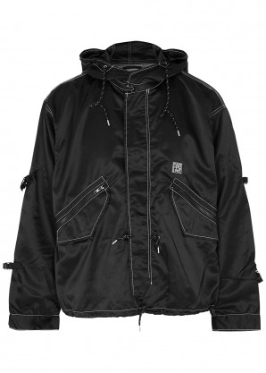 Flagstuff Black hooded satin-shell jacket