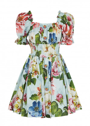 Dolce & Gabbana Floral-print cotton-poplin mini dress