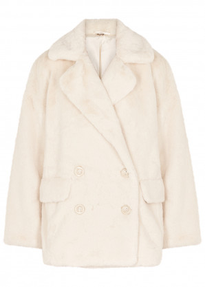 Free People Kate ivory faux fur coat