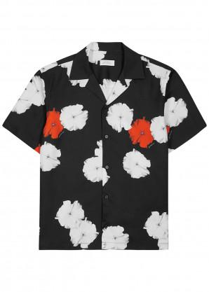 Saturdays NYC Black moon flower print twill shirt