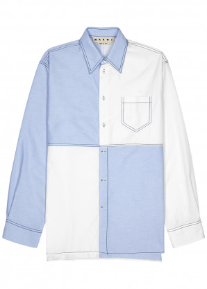 Marni Blue and white panelled cotton shirt