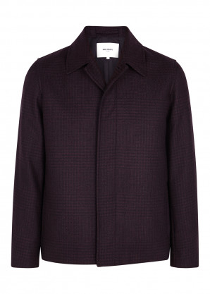 Norse Projects Burgundy checked wool-blend jacket