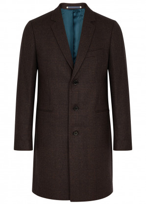 PS by Paul Smith Melton brown checked coat