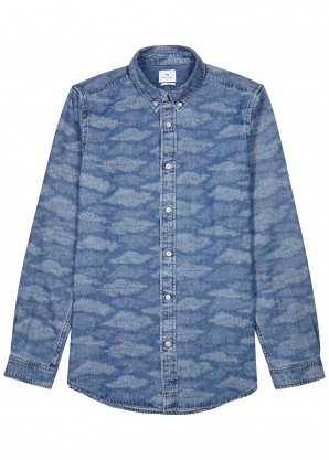 PS by Paul Smith Blue camouflage-print denim shirt