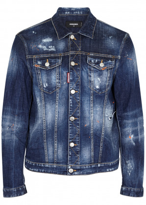Dsquared2 Dan blue distressed denim jacket
