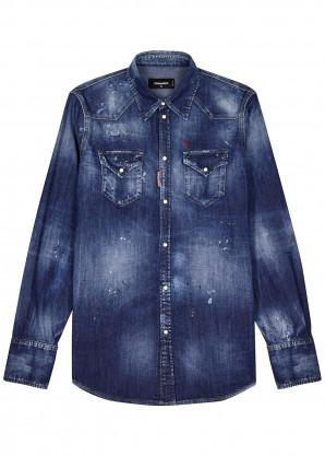 Dsquared2 Blue distressed denim shirt
