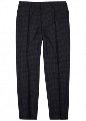 BOSS Navy checked cotton trousers