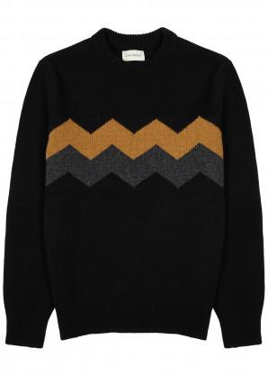 Oliver Spencer Blenheim black intarsia wool jumper