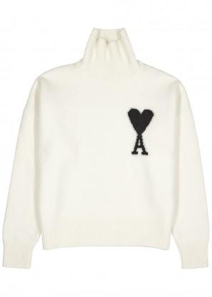 AMI White logo wool jumper