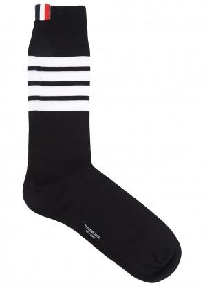 Thom Browne Black striped cotton-blend socks