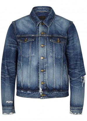 Saint Laurent Blue distressed denim jacket