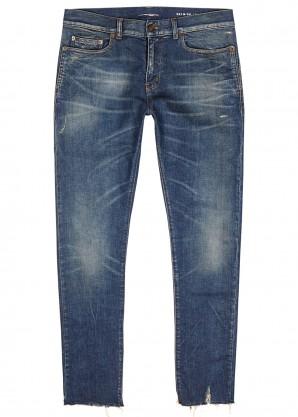 Saint Laurent Dark blue distressed skinny jeans