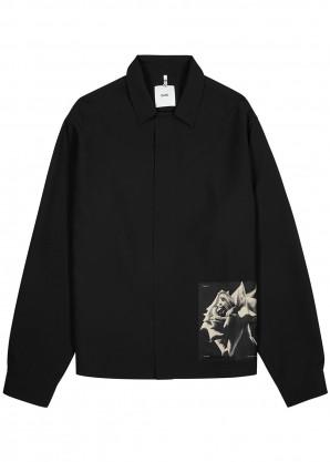 OAMC Black silk-panelled jacket