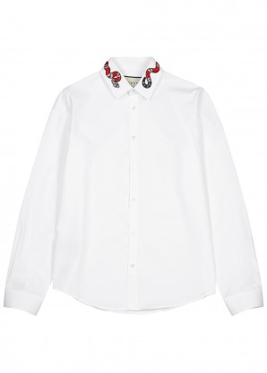 Gucci White snake-embroidered cotton shirt