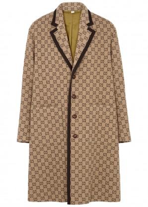 Gucci GG camel wool-blend coat