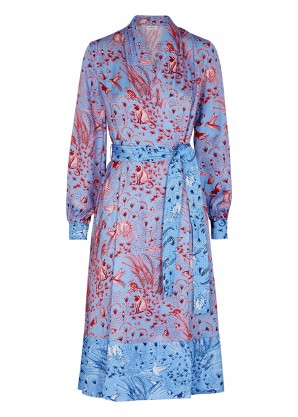 Stine Goya Reflection printed satin wrap dress