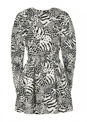 ROTATE Birger Christensen Tara monochrome printed mini dress