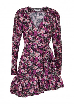 ROTATE Birger Christensen Nancy floral-print wrap dress