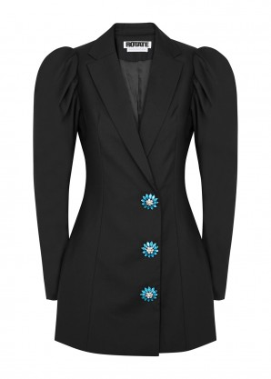 ROTATE Birger Christensen Carol crystal-embellished twill blazer dress