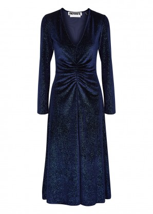 ROTATE Birger Christensen Number 7 glittered velvet midi dress