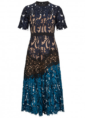 Self-Portrait Prairie floral guipure lace midi dress