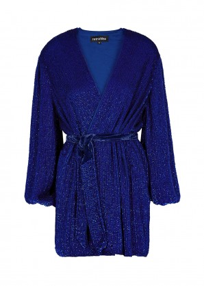 Retrofête Gabrielle blue sequin mini wrap dress