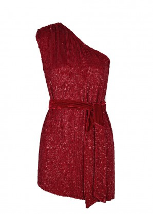 Retrofête Ella red one-shoulder sequin mini dress