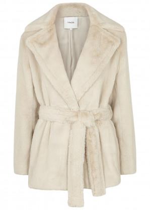 Vince Ivory belted faux fur coat