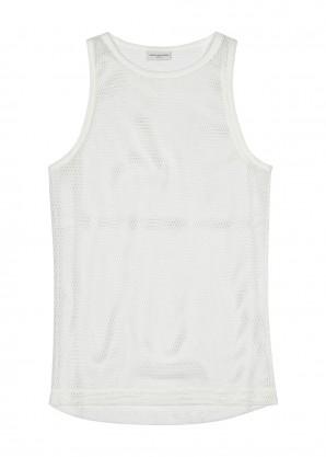Dries Van Noten White cotton-mesh vest