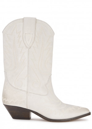 Isabel Marant Duerto 50 off-white leather Western boots