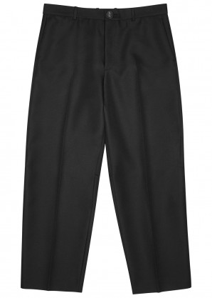 Balenciaga Black cropped twill trousers