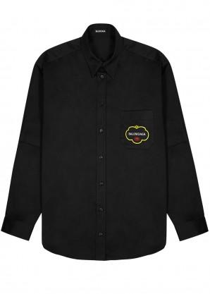 Balenciaga Black embroidered twill overshirt