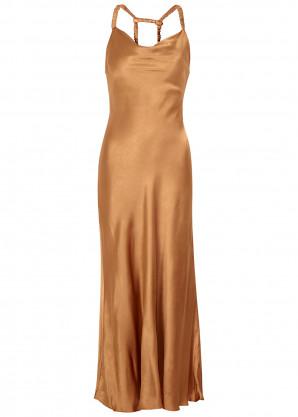 Bec & Bridge Lana caramel satin midi dress