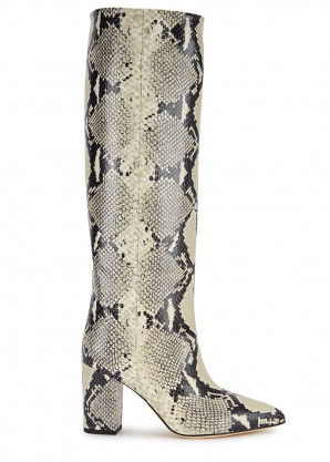 Paris Texas 60 snake-effect leather knee-high boots