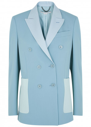 Stella McCartney Alena blue double-breasted stretch-wool jacket