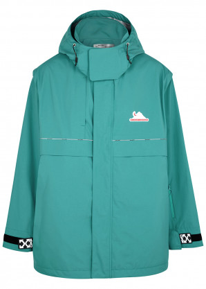 Off-White Turquoise hooded shell jacket
