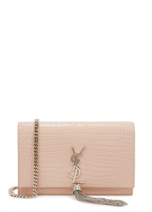 Saint Laurent Kate crocodile-effect leather wallet-on-chain