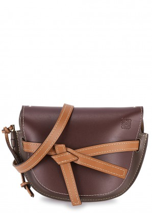 Loewe Gate small brown and burgundy leather saddle bag