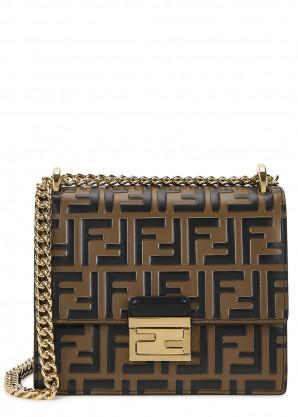 Fendi Kan U small monogrammed leather shoulder bag