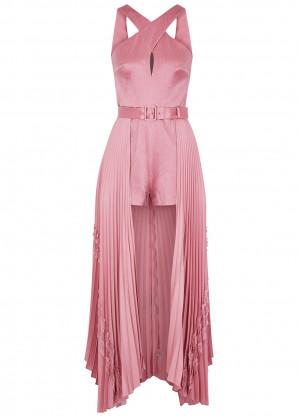 ALEXIS Ambra pink textured satin playsuit