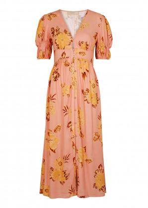 KEEPSAKE Forever pink floral-print midi dress