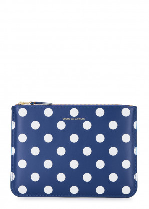 Comme des Garçons Blue polka-dot leather pouch