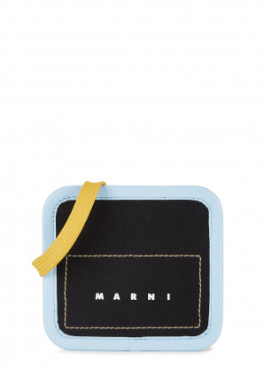Marni Black logo canvas card holder