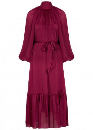 Zimmermann Berry brushed silk midi dress