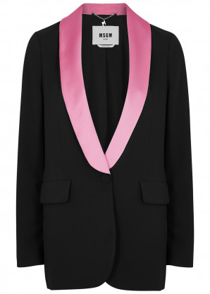 MSGM Black satin-trimmed blazer