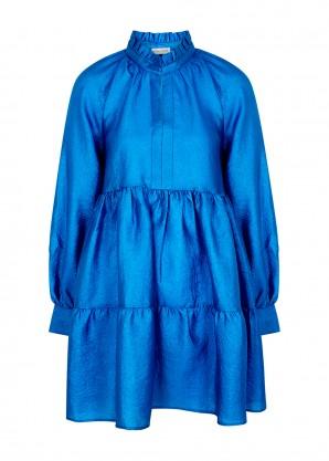 Stine Goya Jasmine blue taffeta mini dress