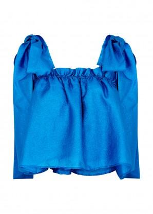 Stine Goya Gia blue cropped taffeta top